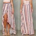 Boho das mulheres Print Floral Saia Maxi Summer Beach Saia Arco Decoração do Tornozelo-Comprimento de Camisas Casuais