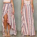 Women's Boho Print Floral Skirt Maxi Summer Beach Casual Skirt Bow Decor Ankle-Length Shirts