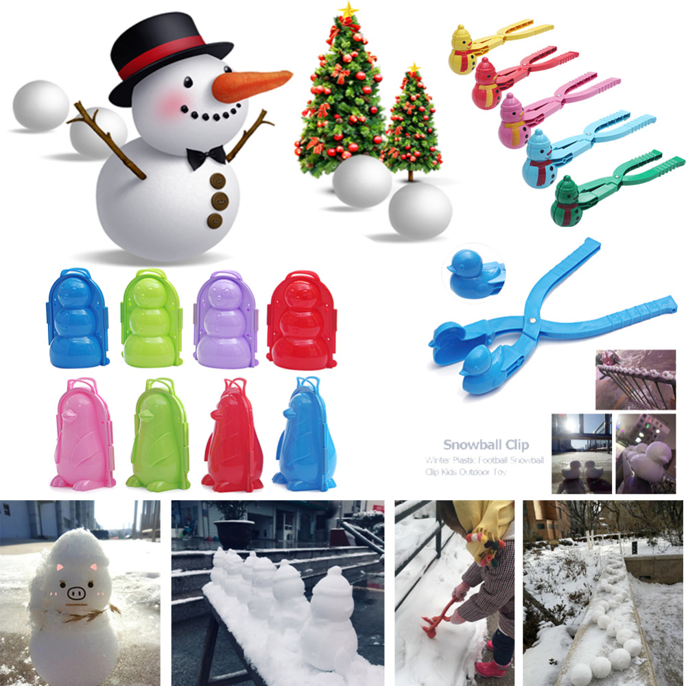 Winter Plastic Snowball Clip Kids Outdoor Snow Sand Ball Maker Mold Toys Children Sports Toy