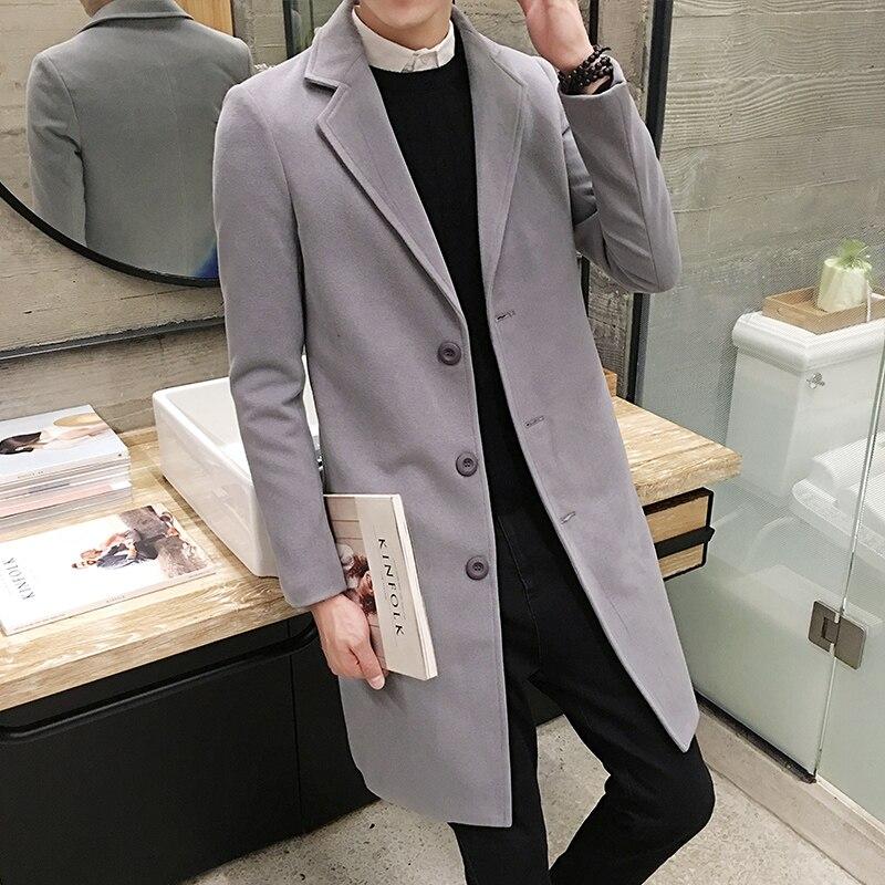 2019 Winter Fashion Men's Solid Color Windbreaker Men's Long Woolen Coat Large Size Casual Single-breasted Windbreaker Jacket