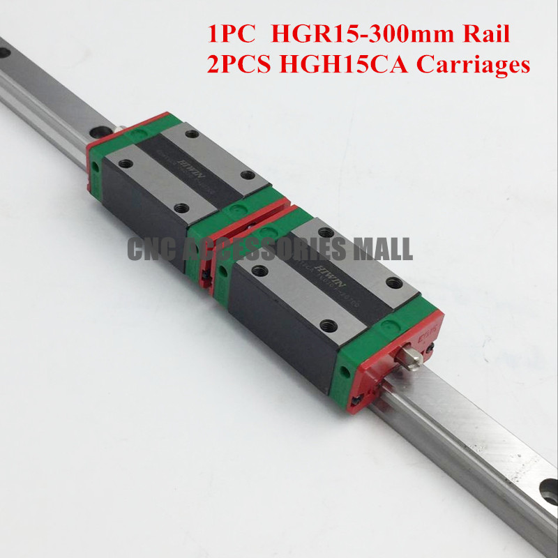 Original HIWIN 15mm Pitch Linear Rail Guide HGR15 L-300mm & 2pcs HGH15CA Rail Block