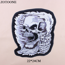 ZOTOONE Big Skull Patch Iron On Transfer Punk Patches For Clothes Jacket Applique Embroidery Rock Cloth DIY Accessory G