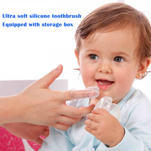 1Pcs Healthy Kids Baby Infant Soft Silicone Finger Toothbrush Teeth Rubber Massager Brush with box