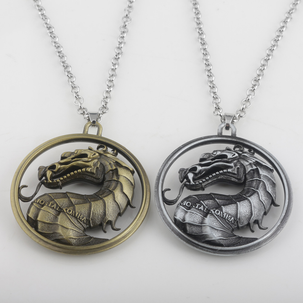 2018 Hot Game of Thrones Series Mortal Kombat Necklace Dragon Pendant Necklaces Movie Jewelry 2 Colours High Quality Uninsex ...