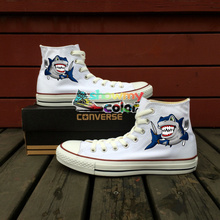 White Shoes Women Men Converse Chuck Taylor Shark Knife Fork Original Design Custom Hand Painted High Top Sneakers Man Woman
