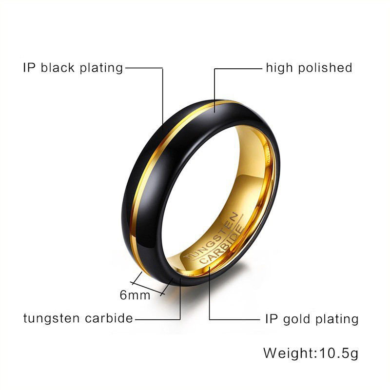 Modyle 2019 New Fashion Black and Gold-Color Tungsten Wedding Ring for Men and Women Jewelry 6MM Black Tungsten Carbide Ring