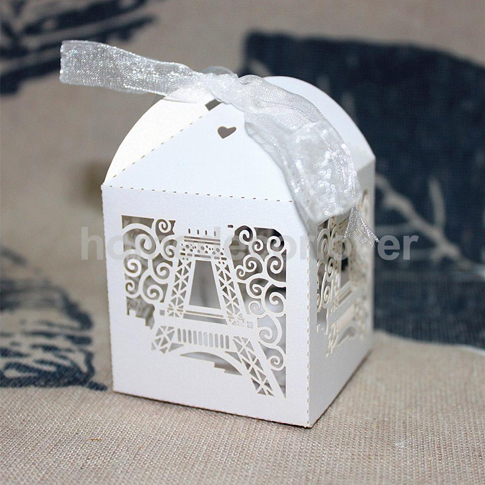 50pcs Laser Cut Eiffel Tower Wedding Favor Party Boxes Gift Box ...