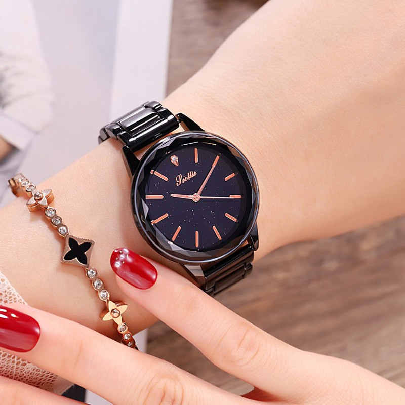 2018 New Cool Black Dial Diamond Women Watches Fashion Lady Casual Quartz Watch Women Stainless Steel Dress Watch reloj mujer все цены