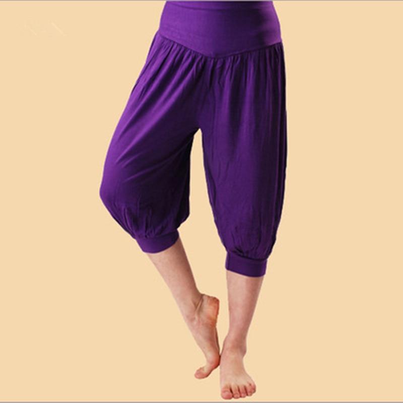 2019 Fashion Summer Ladies' Ladies Modal Sweaters   Capri   Elastic Belt Short Wide Leg   Pants   Warm Belly Dance Boho   Pants