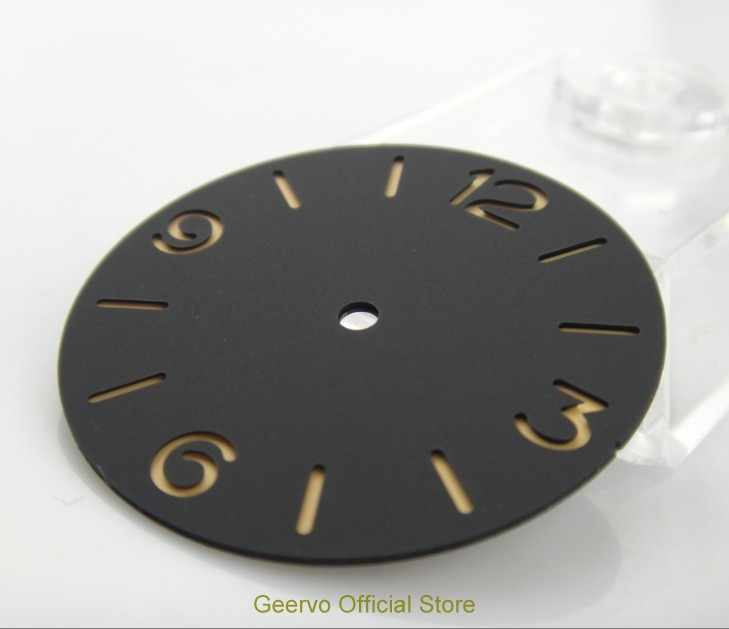 38,9mm GEERVO moda estéril número luminoso negro dial ajuste ETA 6497 movimiento hombres reloj dial 011