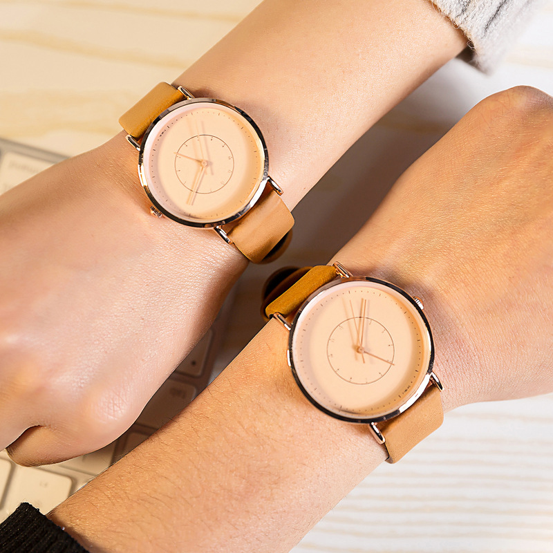 Slim Simple Watches for Men and Women New Fashion FEIFAN Double Scale Face lovers watch couple Quartz Clock with Leather Band