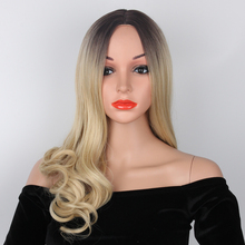 Pageup 22 Inch Long Body Wave Ombre Synthetic Wig For Women Peruca Cabelo Middle
