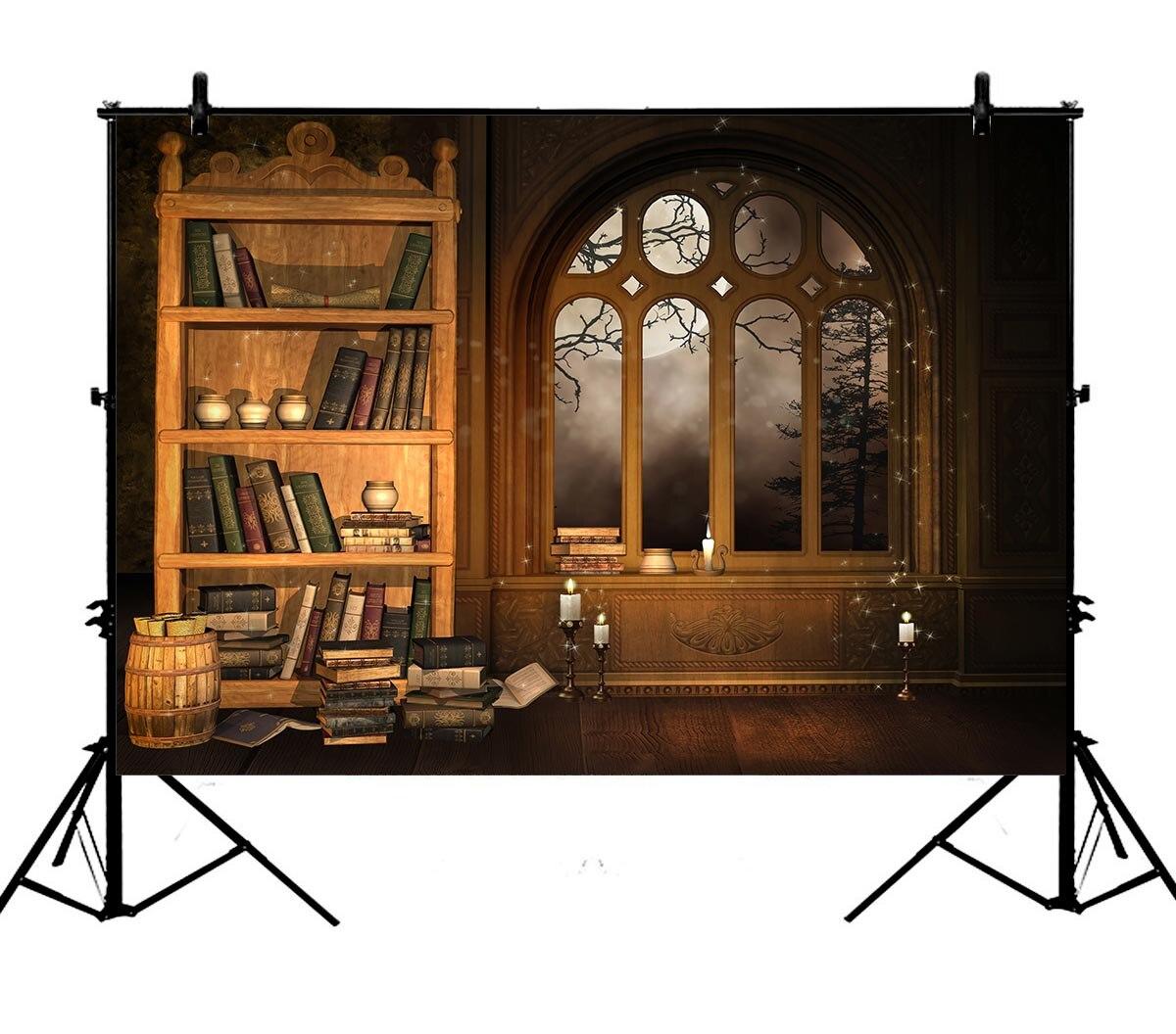 5x7ft européenne rétro bibliothèque bibliothèque étude murale Polyester Photo arrière-plan Portrait toile de fond