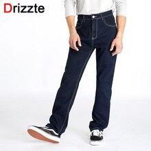 Drizzte Hohe Taille Lose Gerade Herren Stretch Blau Denim Jeans Marke Hosen Plus Größe Groß und Hoch Mann Jeans für große Mann