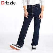 Drizzte גבוהה מותן Loose ישר Mens למתוח כחול ג ינס ג ינס מותג מכנסיים בתוספת גודל גדול ואיש גבוה ג ינס איש גדול