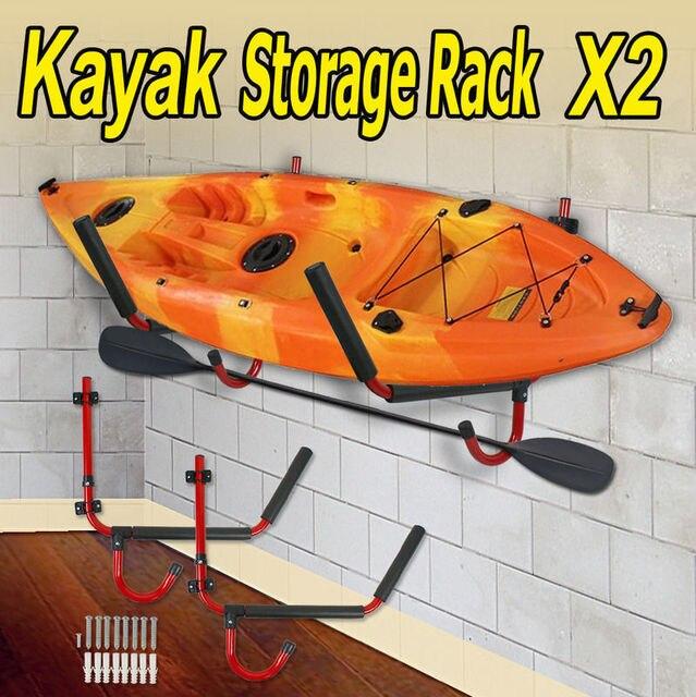 2 X Kayak Steel Ladder Wall Mount Storage Rack Surfboard Canoe Folding  Hanger
