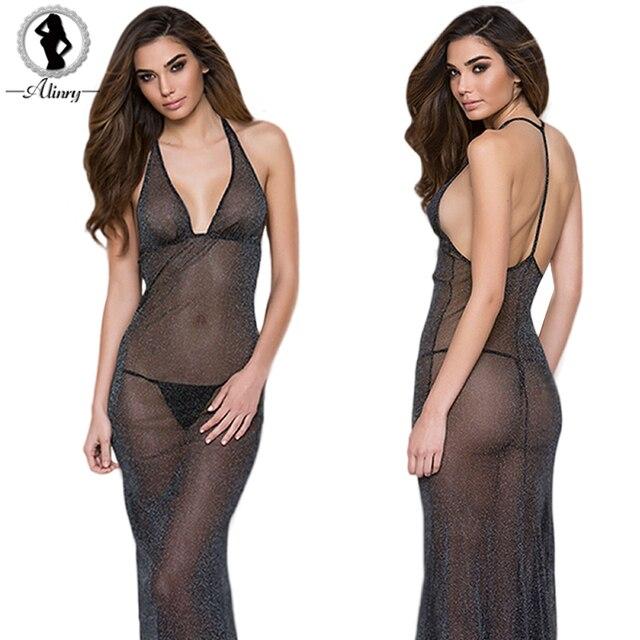 5e5d6fe382 2017 Nueva Llegada sexy lingerie hot Negro Perspectiva Mesh mujer ropa de  dormir delgada Profunda V
