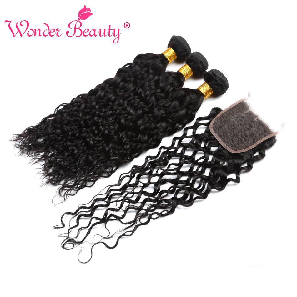 Wonder Beauty Brazilian Hair Weave Bundles With Closure Non Remy Water Wave 3 Bundles With Closure Top Human Hair Extension 4Pcs
