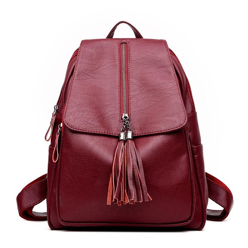High Quality Leather Women Backpacks 2017 Fashion Tassels Bag School Bags for Teenagers Girls Daily Backpack Female Shoulder Bag