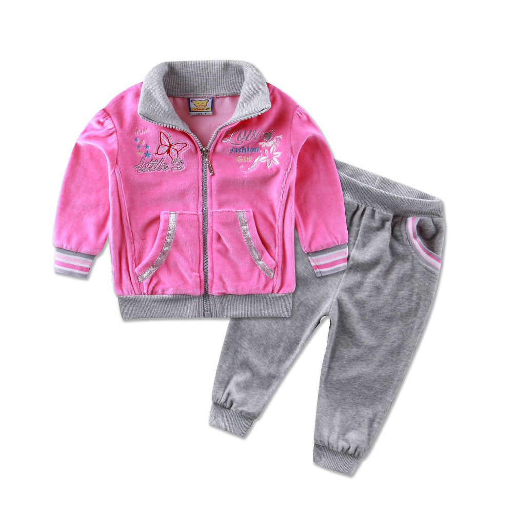 2017 new style Children's clothing casual sports set baby girls winter clothes 2pcs long sleeve fashion infant kids jacket pants 2017 new style spring autumn hoodie baby girl clothing set sequin lace long sleeve velour sports jacket long trousers outfits