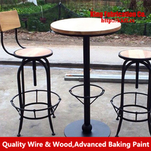 Solid wood furniture wrought iron rust bar Chair, bar stool chair lift