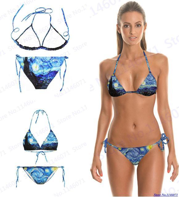 b1d2943fa5 Blu La Notte Stellata Costumi da bagno Van Gogh Pittura Costumi Da Bagno  Halter Sexy della