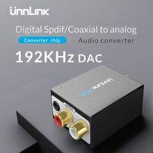 Unnlink Digital to Analog Audio Converter 192 KHz 24Bit DAC Digital Optical Fiber Coaxial RCA Toslink Signal to Analog Audio