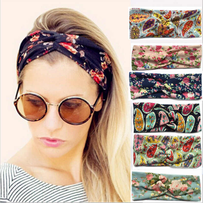 Fashion Retro Women Elastic Turban Twisted Knotted Headband Ethnic Floral Wide StretchHair Accessories