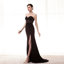 48036f5fe2 2018 Backlackgirl Black Mermaid Prom Dresses Beads Sexy Side Slit Long  Evening Dress Party Gown Off