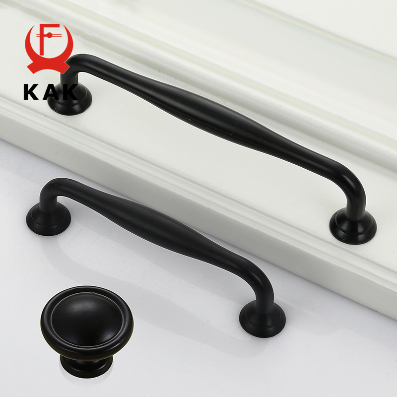 KAK 5pcs/lot American Style Black Handles Modern Cabinet Drawer ...