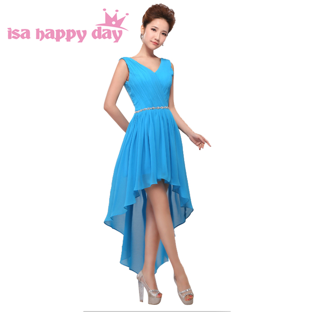 modern short front long back blush blue bridesmaids dresses formal ...