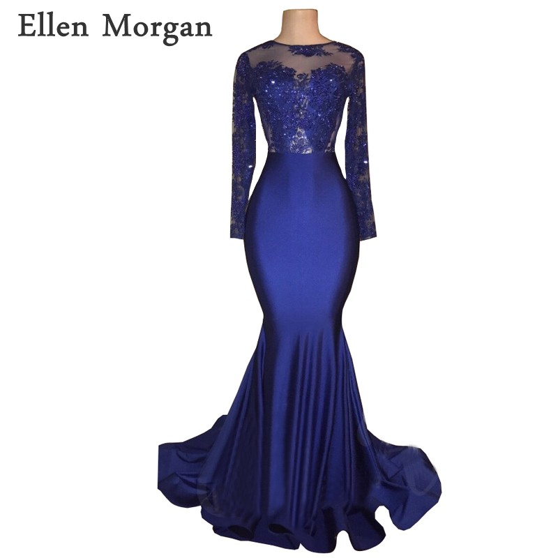 Backless Long Sleeves Navy Blue Mermaid   Prom     Dresses   2019 for African Black Girls with Lace Sexy See Through Vestido De Festa