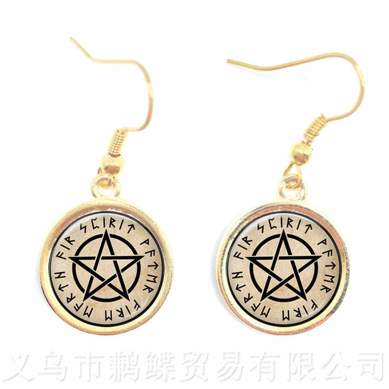 Supernatural Wickedest Pentacle Satanic Earrings 16mm Glass Cabochon Goth Drop Earrings Wiccan Star Gift For Pray For Happines