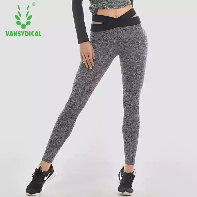 Vansydical Women Yoga Pants High Quality Slim Running Fitness Leggings Elastic Sexy Compression Tights Breathable Sports Pants
