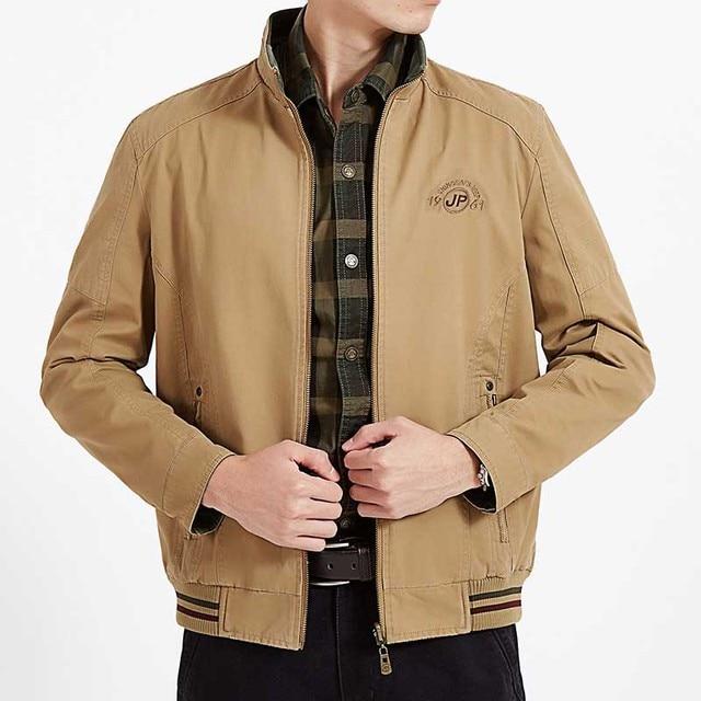 198997ebdc6b7 New Stylish Double Side Wear Clothing Men Jacket Cotton Stand Collar Bomber Jacket  Military Vintage Jacket Black Big Size M-4XL
