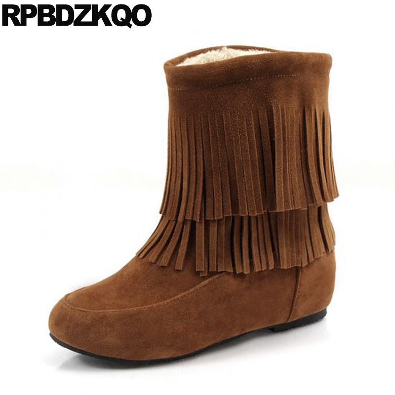10 Faux Fur Short Height Increased Cheap Round Toe Fringe Ankle Slip On Suede Brown Women Snow Boots Winter Shoes Big Size 34-43 slip on faux fur flat suede snow boots