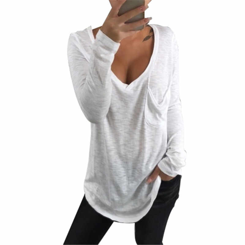 9314ea7a259 Spring Summer Long Sleeve T Shirt Women 2019 Sexy V Neck White T-Shirt Solid