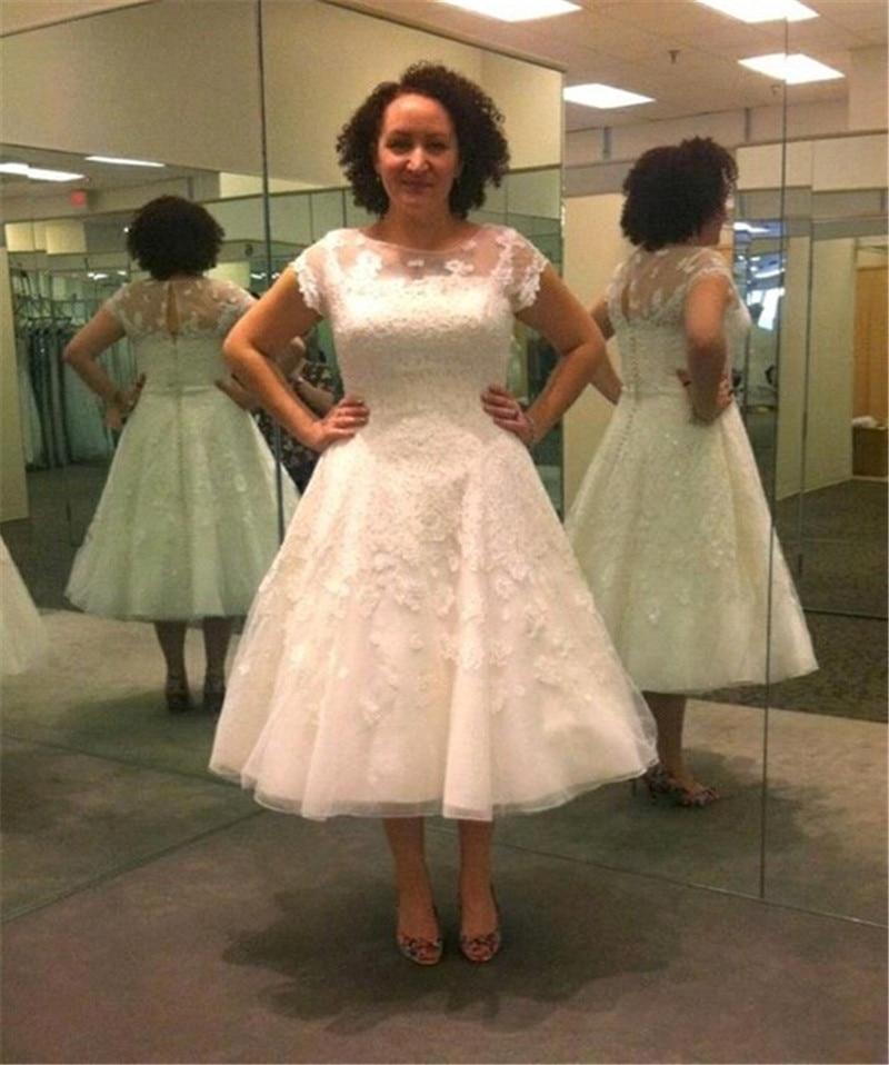 Popular Vintage Tea Length Wedding Dress-Buy Cheap Vintage Tea ...