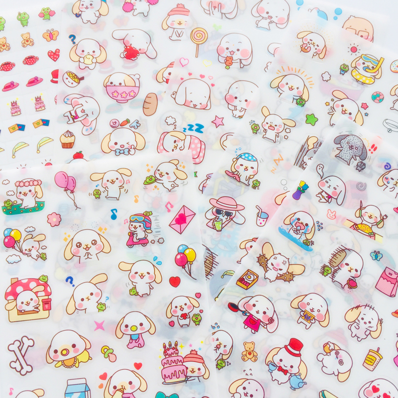 6 Sheets Kawaii Big Ear Puppy Dog Adhesive Stickers Decorative Album Diary Stick Label Paper Decor Hand Account Q02