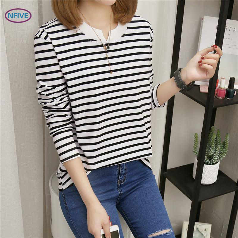 NFIVE Brand 2017 Women's Stripe Loose T-shirts Korean Autumn New Long Sleeved Large Size Shirt Quality Fashion Cotton T-shirt 1