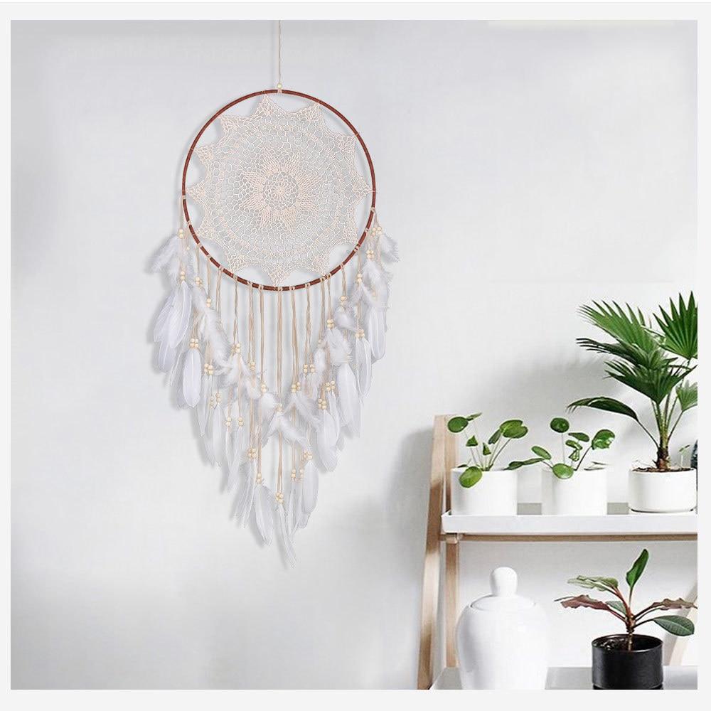 Attrapes rêves géant indien blanc multicolore plume capteur de rêves dreamcatcher décoration intérieur décoration murale tissé parure tissage habiller chambre à coucher cauchemars grande taille