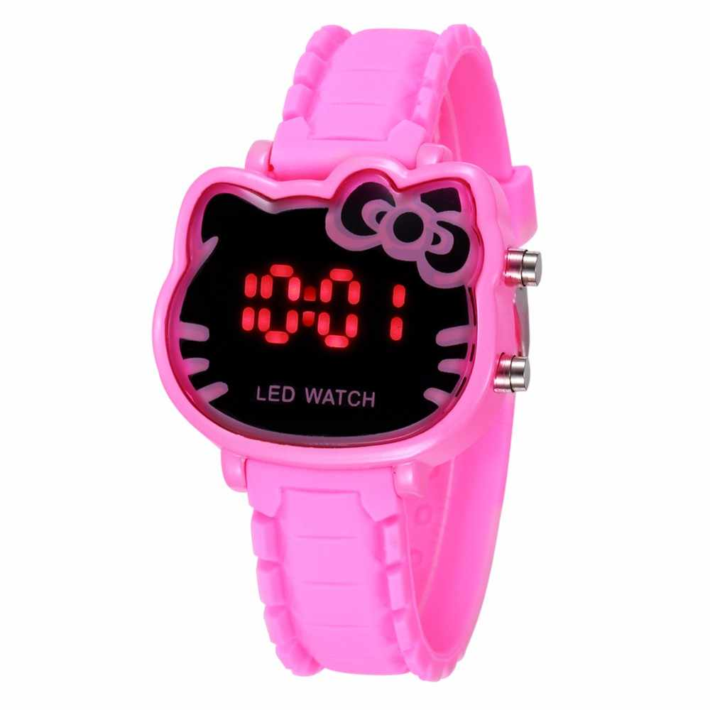 TMC#230 Girls Watch Cartoon Cat Girl Clock Luxury Brand LED Children Electronic Watches Kids Wristwatch Best Gift