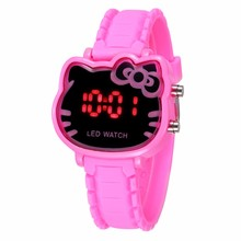 TMC#230 Girls Watch Cartoon Cat Girl Clock Luxury Brand LED Children Electronic