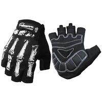 1 çift 3D Baskı bisiklet eldiveni Yarım Parmak Kaymaz Bisiklet Bisiklet sporcu ağı Kış kafatası iskelet Goth Yarış motokros eldivenleri