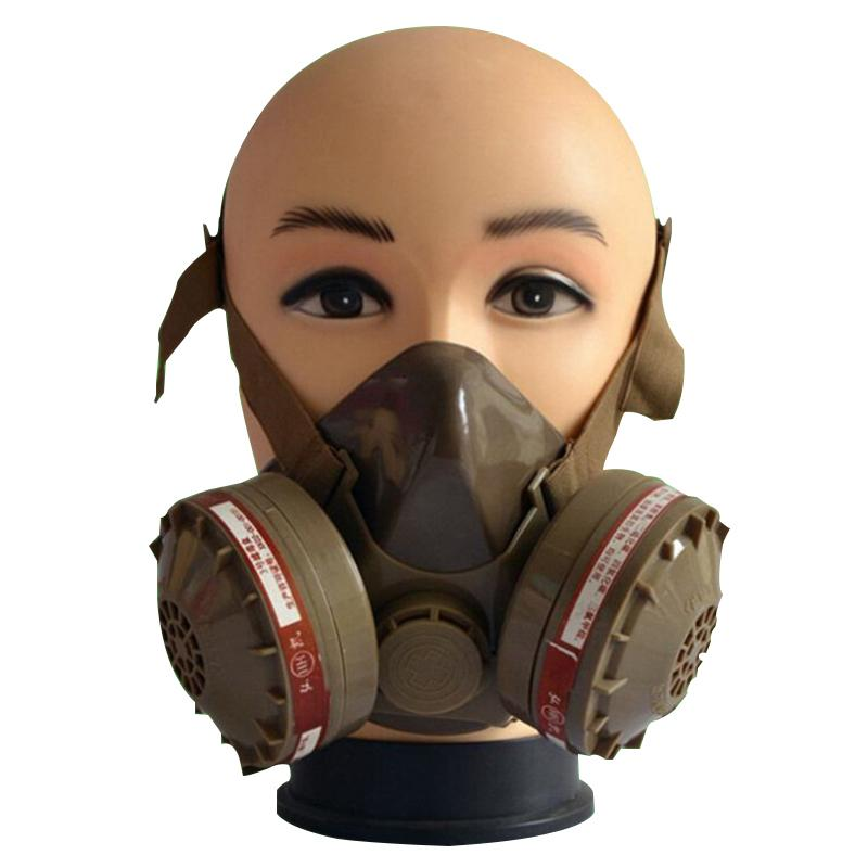Spray Mask Respirator Gas Protect Mask Anti-Dust Chemical Paint Dust Spray Face Mask Dual Cartridge Mask new safurance protection filter dual gas mask chemical gas anti dust paint respirator face mask with goggles workplace safety
