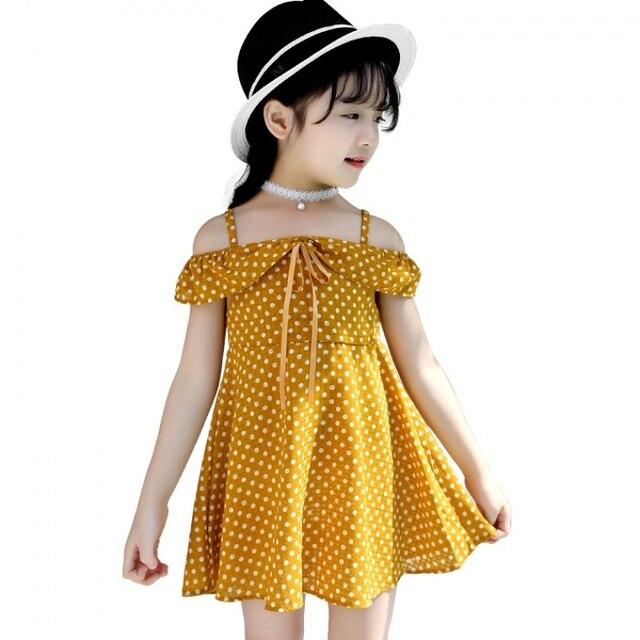 622e6acb742 2018 Girls Print Dot Summer Dress Girls Cute School Dress Kid Beach Dress  Children Princess Dress For Party Wedding Kid Clothes