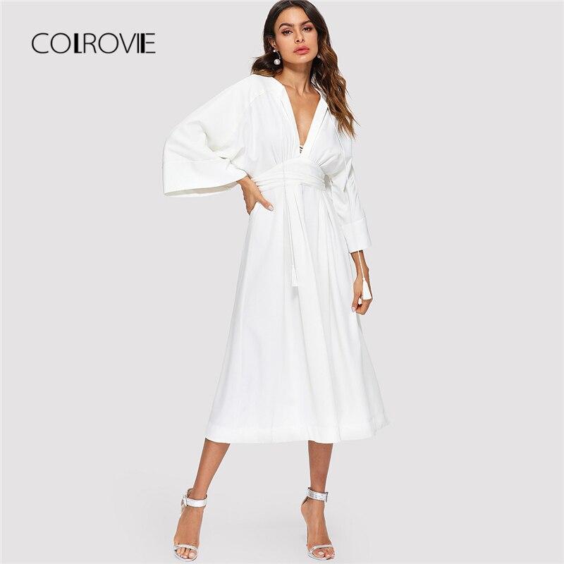 COLROVIE Plunging Kimono Sleeve Tassel Tie Fall Dress 2018 New Long White Dress V Neck Girls Dress Casual Women Dress
