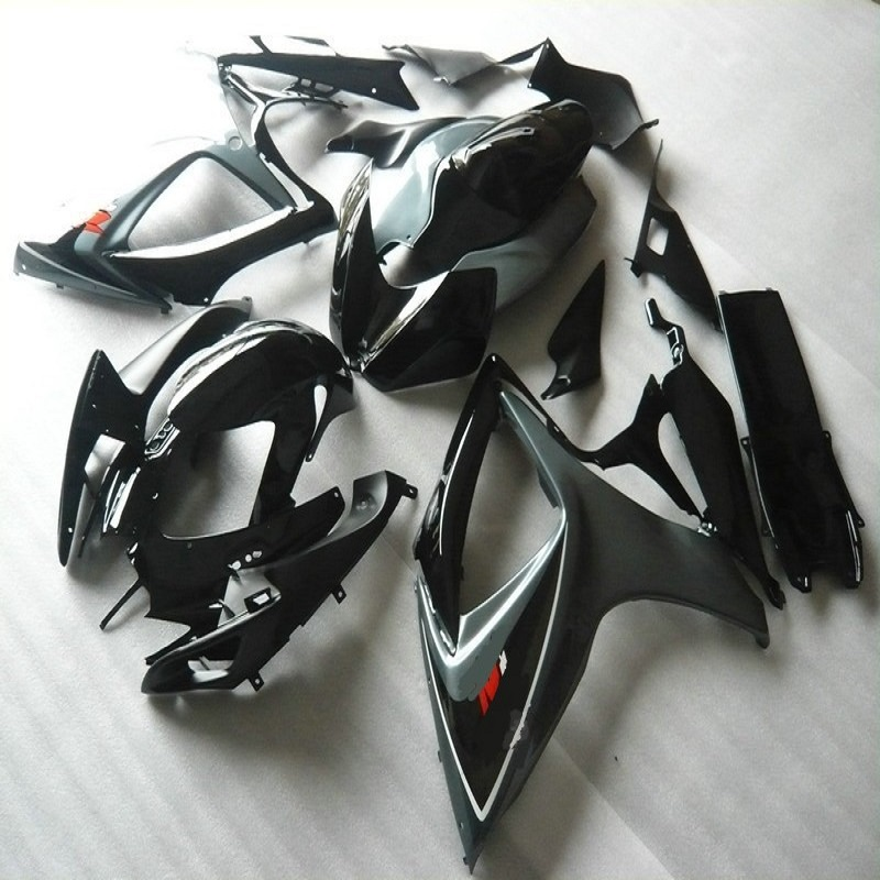 Nn-Motorcycle <font><b>Fairing</b></font> <font><b>Kit</b></font> for SUZUKI <font><b>GSXR</b></font> <font><b>600</b></font> 750 K6 06 07 GSXR600 GSXR750 2006 <font><b>2007</b></font> ABS black grey <font><b>Fairings</b></font> set image