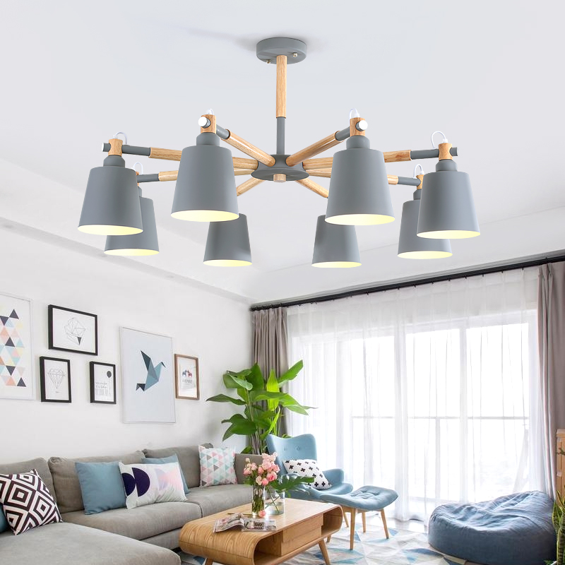 купить Nordic lighting living room chandelier wood personality modern minimalist style bedroom lamp restaurant light macarons chandelie по цене 5983.78 рублей