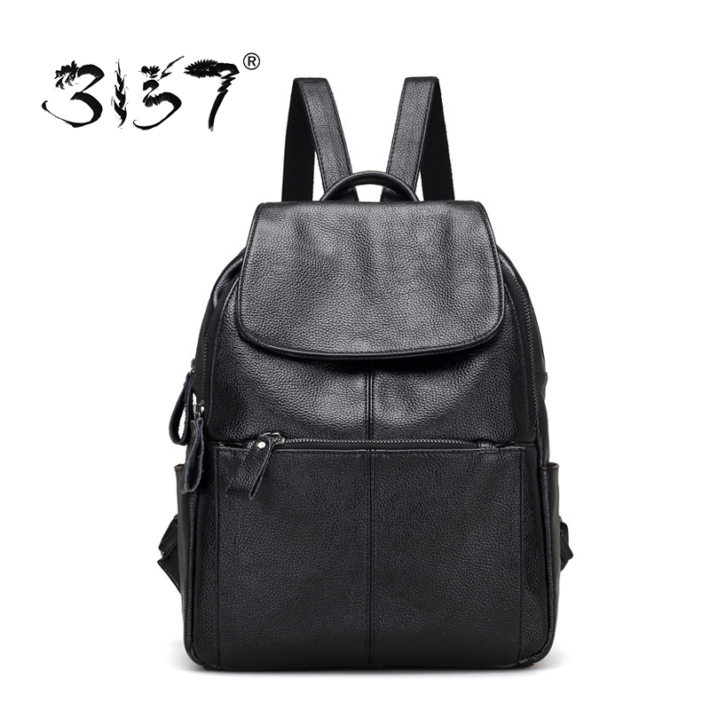 3157 Fashion Women Leather Backpacks for Teenage Girls Black Solid School Bags High Capacity Travel PU